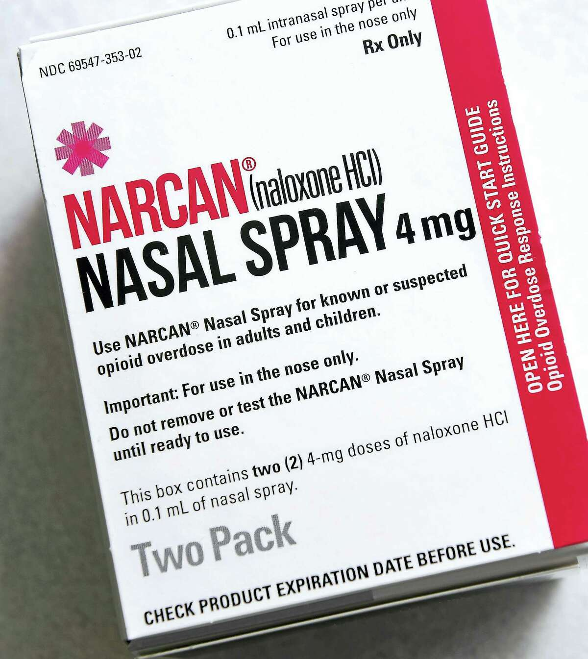 Narcan nasal spray photographed at Visels Pharmacy in New Haven.