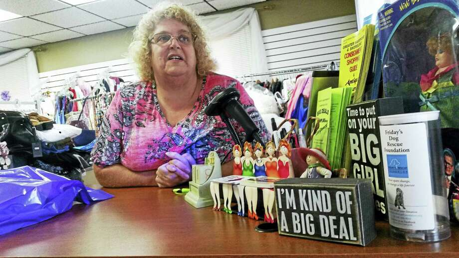 Local business owner Cindy Lynn is a familiar face in Cromwell, where she operates the only plus-sized consignment shop for women in the state. Photo: Kathleen Schassler — The Middletown Press
