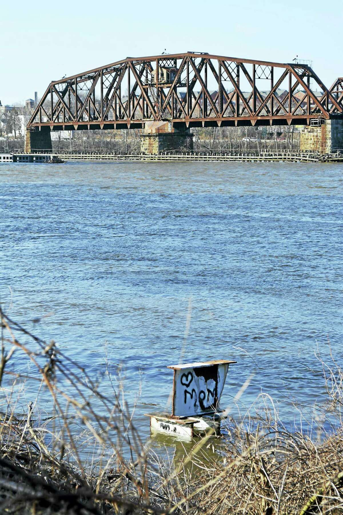 The railroad bridge that spans the Connecticut River as seen from the Portland side.