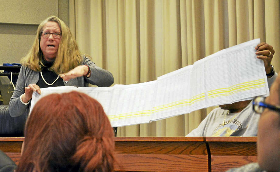 Middletown Town Clerk Linda Bettencourt took issue with the Segal Waters job report Monday in council chambers. Photo: Cassandra Day — The Middletown Press