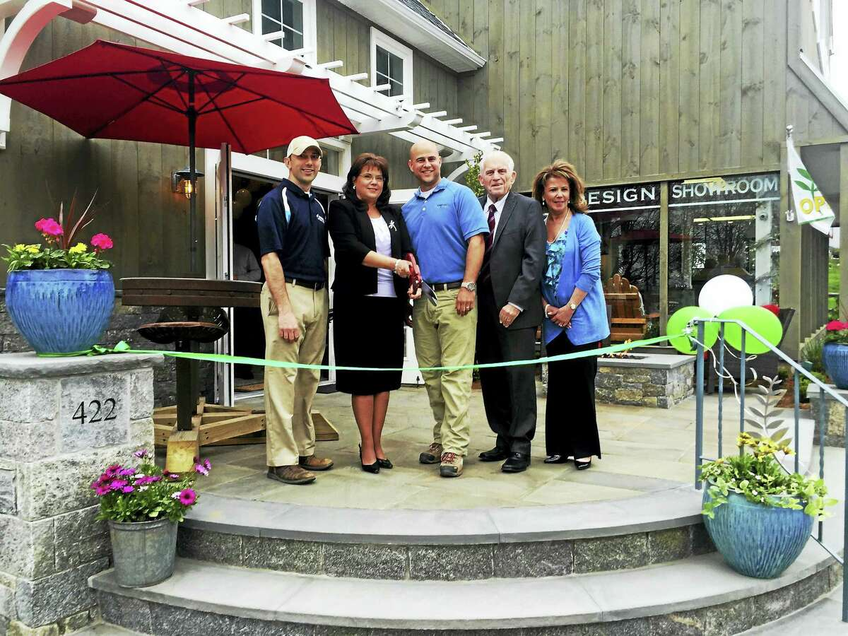 Torrison Stone & Garden held a ribbon-cutting and good neighbor open house on April 28 at its renovated located in Durham. From left are landscape architect at Torrison Stone & Garden Brian Murphy, Durham First Selectman Laura Francis, Torrison owner Tyler Gerry, president of the Middlesex County Chamber of Commerce Larry McHugh and Torrison business manager Suzanne Ciofalo.