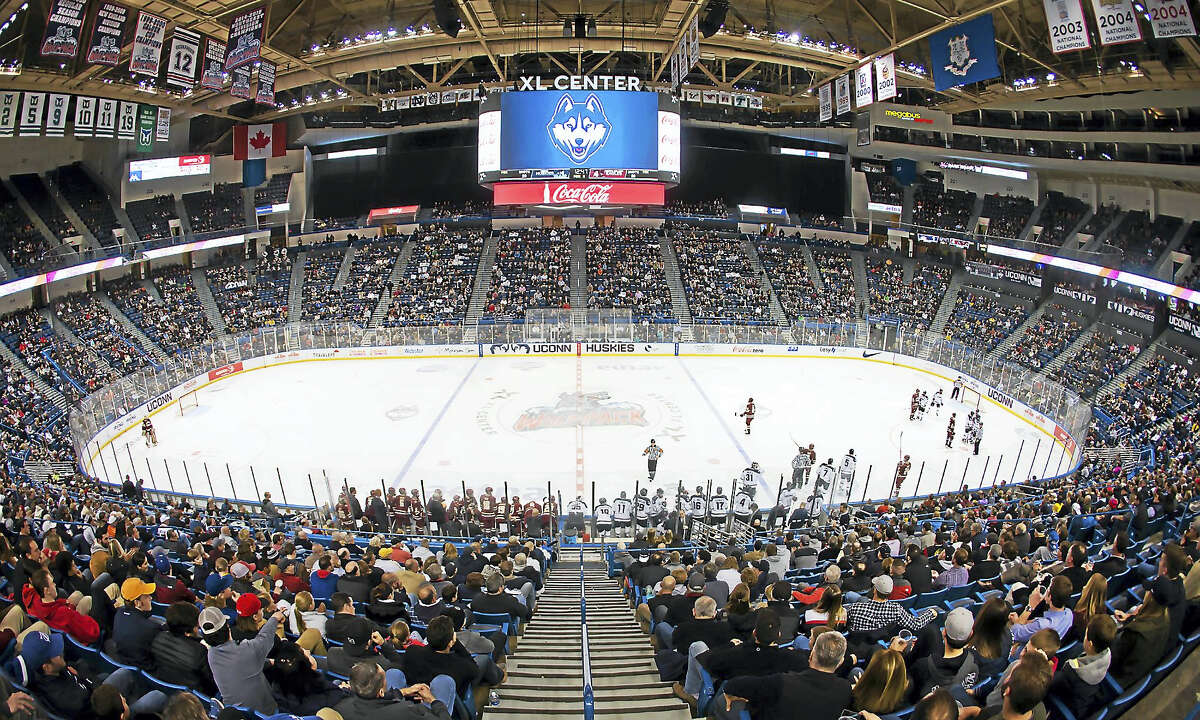 Stephen Slade photoThe UConn men's hockey team has a competitive schedule for 2016-17, with 10 games against NCAA tournament teams from this past season. The Huskies will play 14 games at the XL Center.