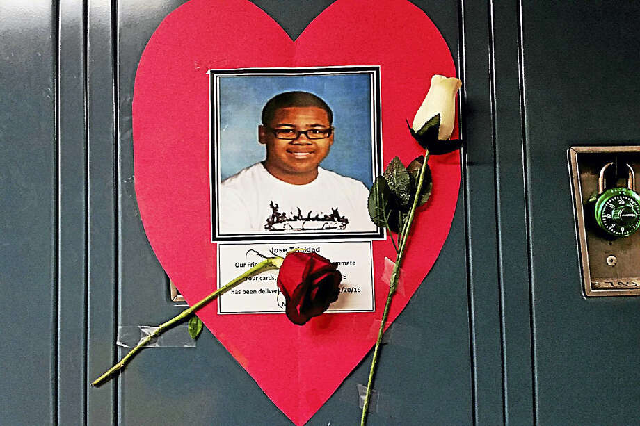 Jose Trinidad's locker at Middletown's Woodrow Wilson Middle School is decorated in memory of the 14-year-old eighth-grader who died on Thursday. Photo: Courtesy Photo