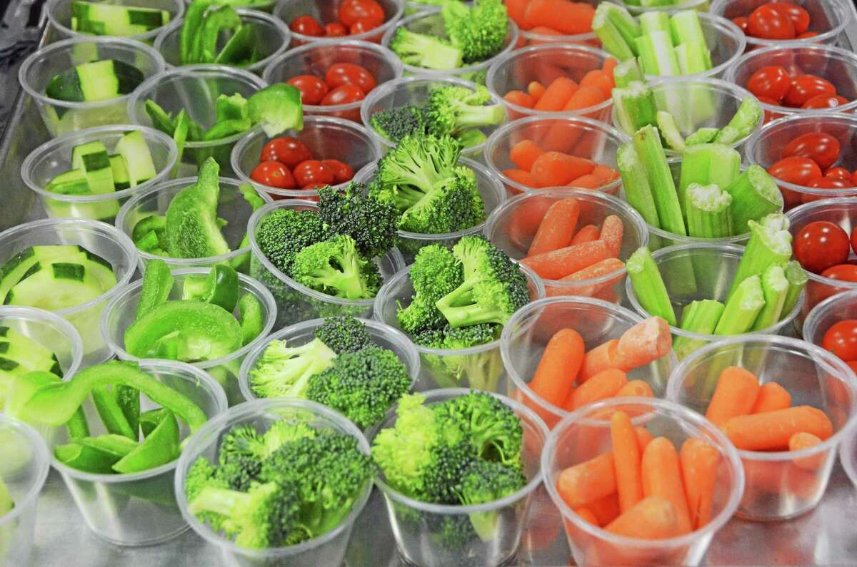 A variety of fresh vegetables, with dip on the side, is available to students at Brayton Elementary School in North Adams. School lunches have more whole grains, portion control and fruits and vegetables than ever before. Gillian Jones - The Berkshire Eagle