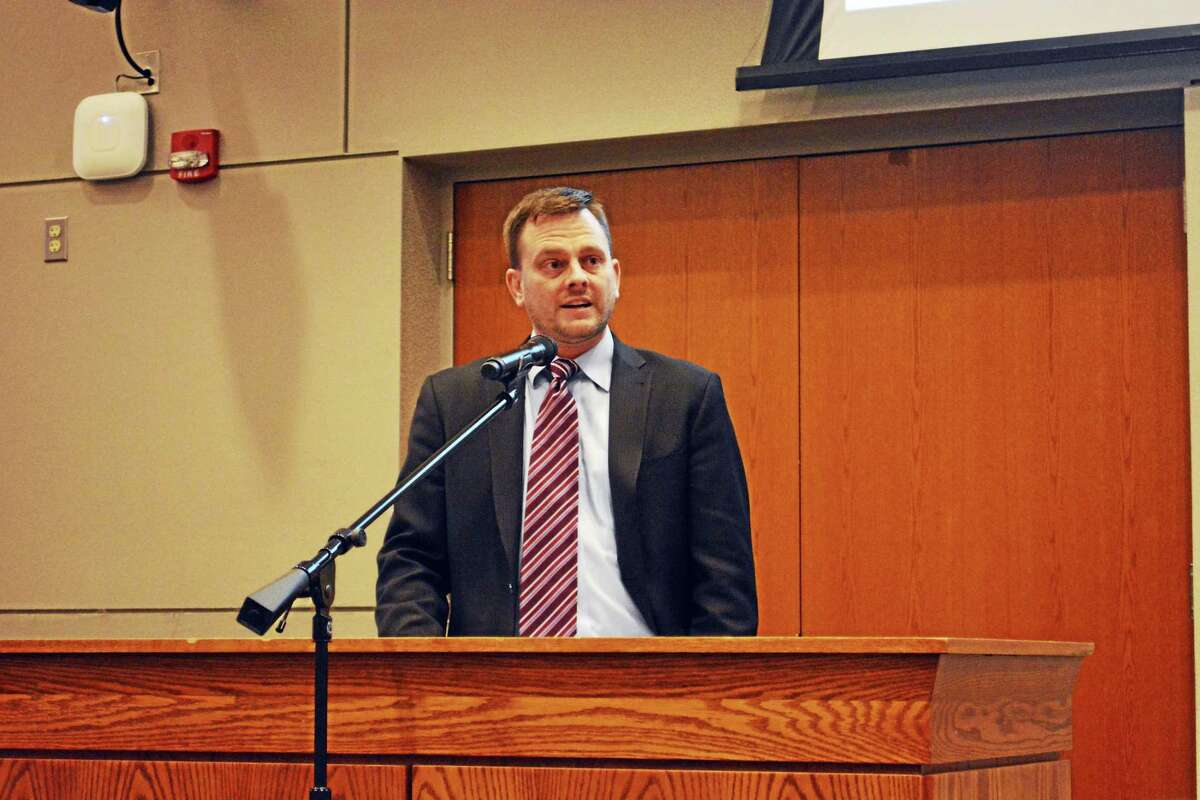 Segal Waters Consulting senior consultant Patrick Bracken presents his firm's results to city employees Monday afternoon in council chambers.