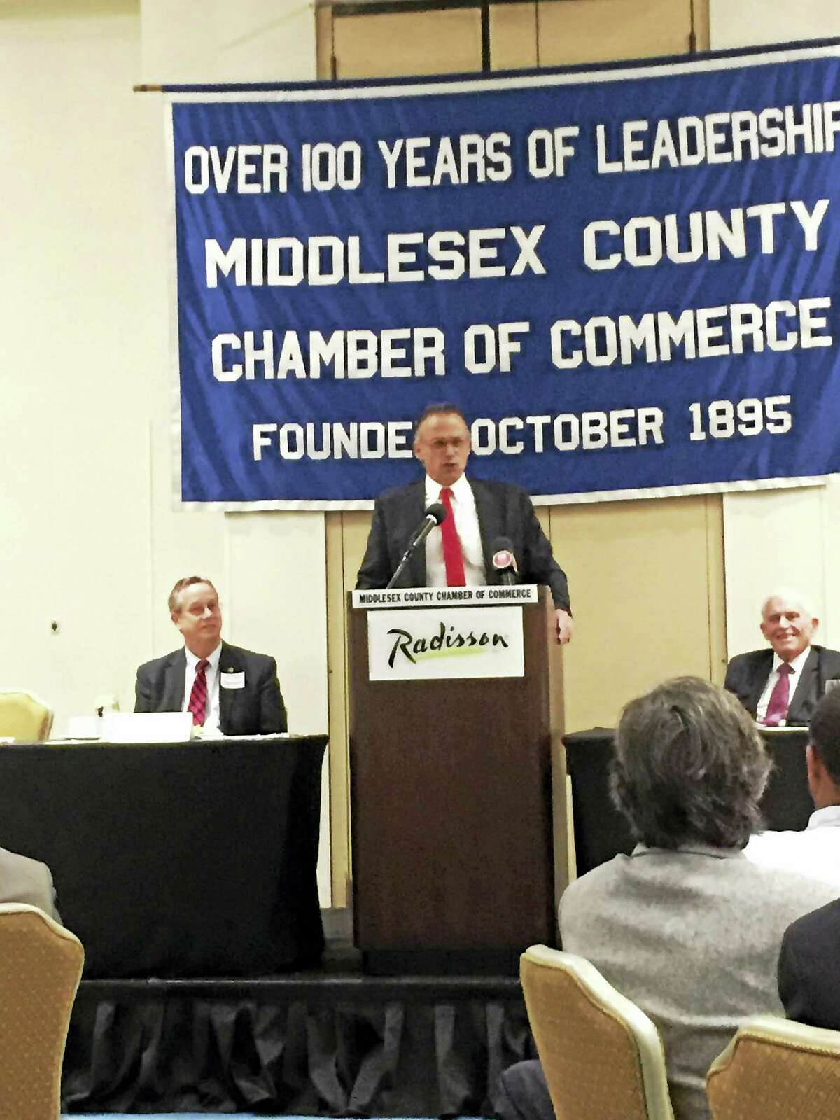 Wesleyan University President Michael Roth speaks at Friday's Middlesex County Chamber member breakfast in Cromwell.