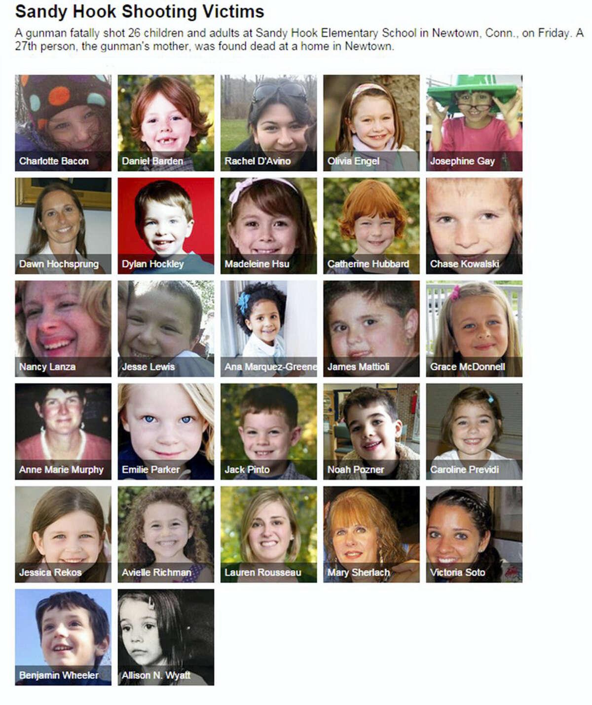 COURTESY OF SAN JOSE MERCURY NEWS Sandy Hook shooting victims