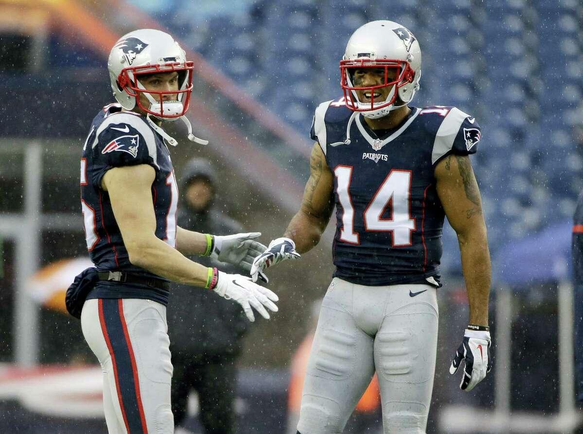 Patriots wide receivers Chris Hogan, left, and Michael Floyd.