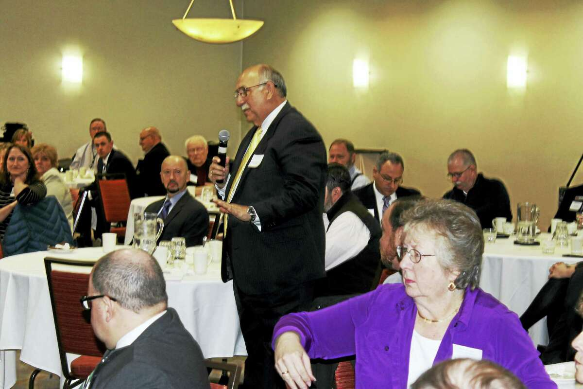 Cromwell Town Manager Anthony Salvatore speaks at the Middlesex County Chamber of Commerce member breakfast Friday morning.