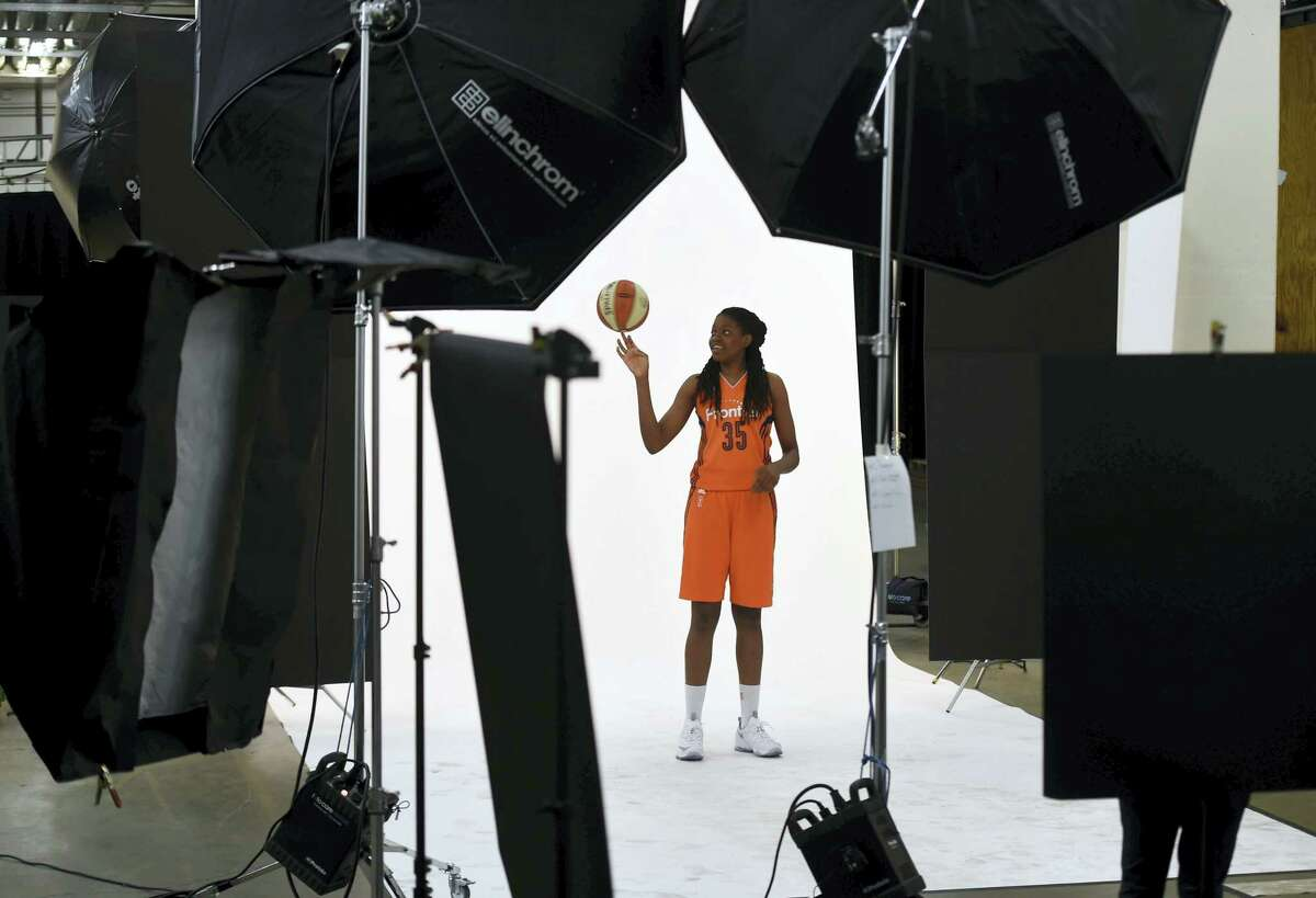 Connecticut Sun rookie Jonquel Jones poses for a photo during the team's media day Thursdayat Mohegan Sun Arena in Uncasville, Conn. The Sun open the 2016 WNBA regular season May 8th at Dallas and the home season May 21st against Washington.