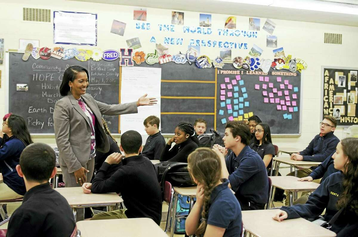 The Council of Chief State School Officers named Jahana Hayes as National Teacher of the Year on Thursday, April 28, 2016. Hayes teaches at John F. Kennedy High School in Waterbury and previously taught at James Hillhouse High School in New Haven.