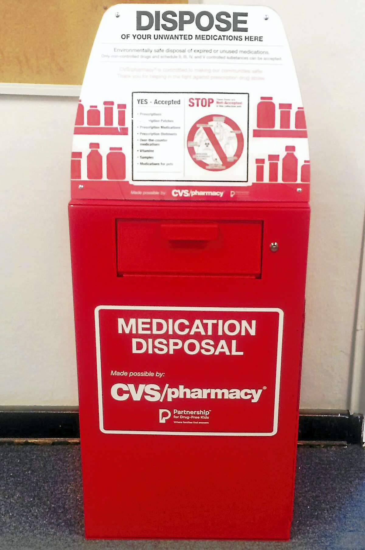 The Connecticut State Police have announced 11 new prescription drug drop-off box locations, each connected to a state police barrack. The boxes were installed after a donation by CVS Pharmacy.