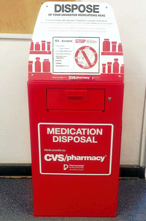 The Connecticut State Police have announced 11 new prescription drug drop-off box locations, each connected to a state police barrack. The boxes were installed after a donation by CVS Pharmacy. Photo: Courtesy Of Connecticut State Police