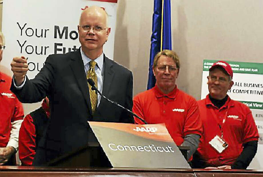 State Comptroller Kevin Lembo spoke earlier this year at a press conference. Photo: CTNewsJunkie File Photo