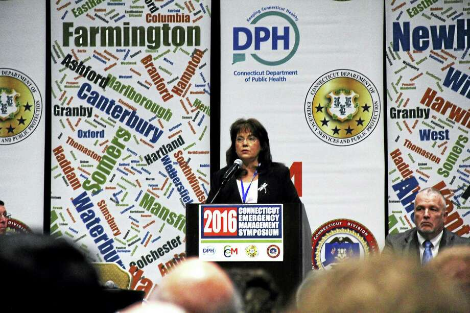 Durham First Selectwoman Laura Francis speaks Thursday at the Connecticut Emergency Management Symposium in Cromwell. Photo: Kathleen Schassler — The Middletown Press  / Kathleen Schassler All Rights