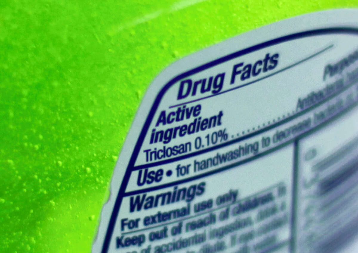 This Tuesday file photo shows the label of a bottle of antibacterial soap in a kitchen in Chicago.