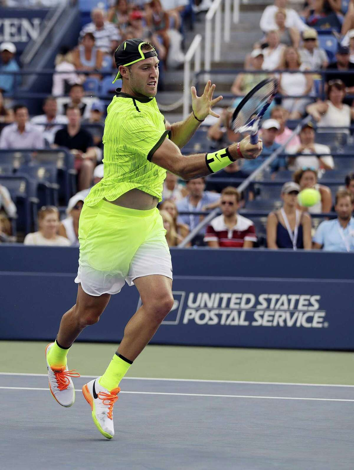 Jack Sock hits a forehand to Mischa Zverev at the U.S. Open on Wednesday.