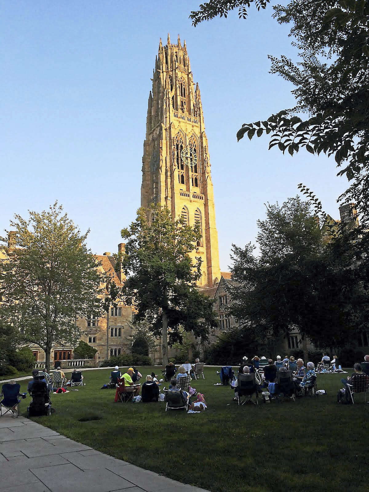 Lounging in Branford Courtyard at Yale during a carillon concert.