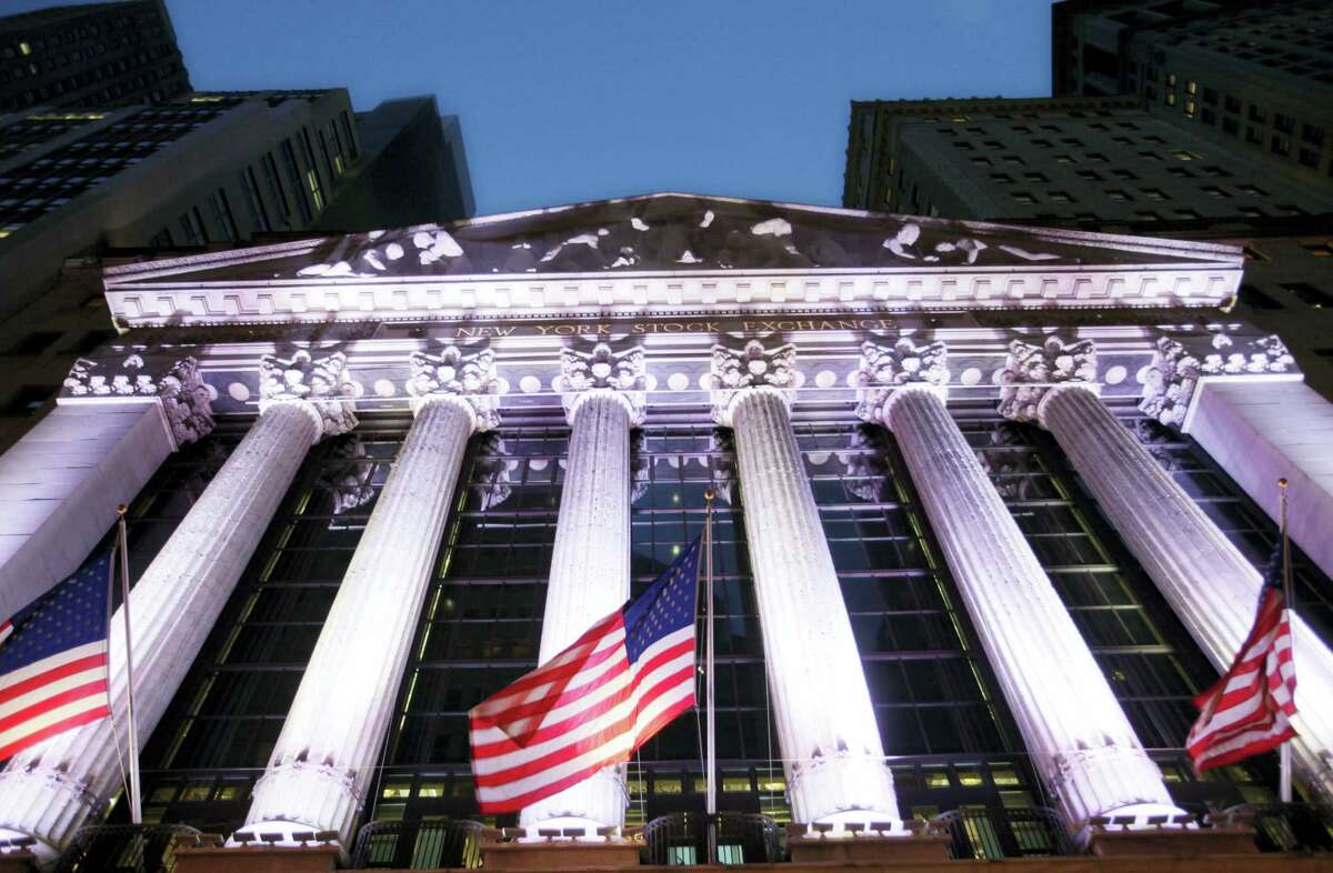 The American flags fly in front of the New York Stock Exchange.