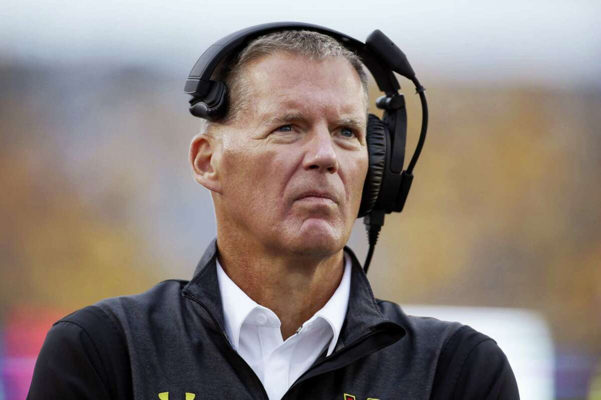 Randy Edsall, then the University of Maryland's head coach, watches his team during the second half of an NCAA college football game against West Virginia on Sept. 26, 2015. Edsall returns to coach at UConn, replacing Bob Diaco.
