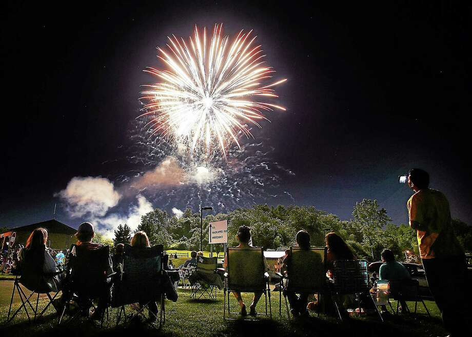The annual Wallingford town fireworks display lights up the sky over Hope Hill Road. Photo: Peter Casolino — Register File Photo