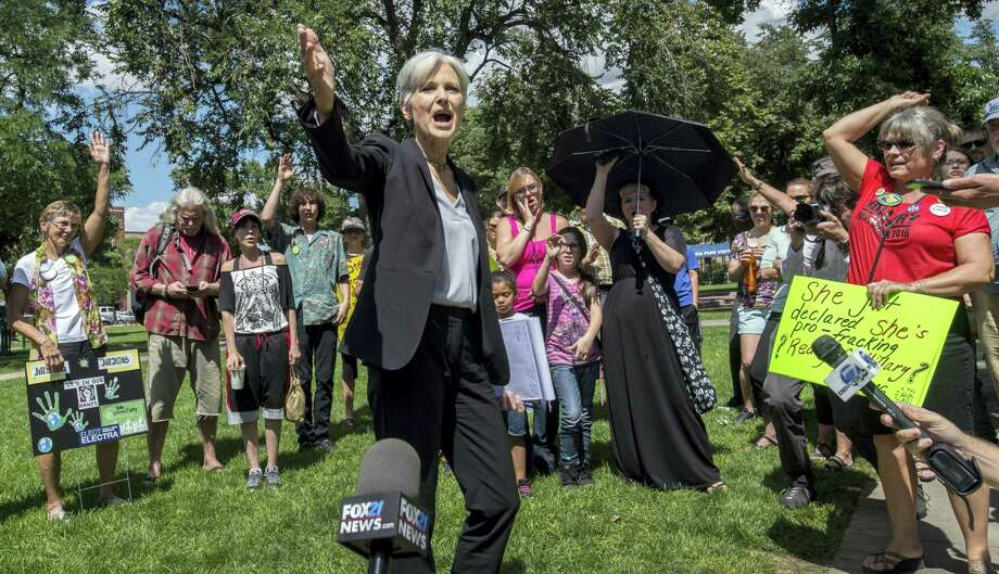 Green Party presidential candidate Jill Stein speaks to supporters during a rally Saturday in Acacia Park, in Colorado Springs, Colo. After the rally she marched with supporters to the All Souls Unitarian Universalist Church where she spoke. Photo: Christian Murdock — The Gazette Via AP  / The Gazette