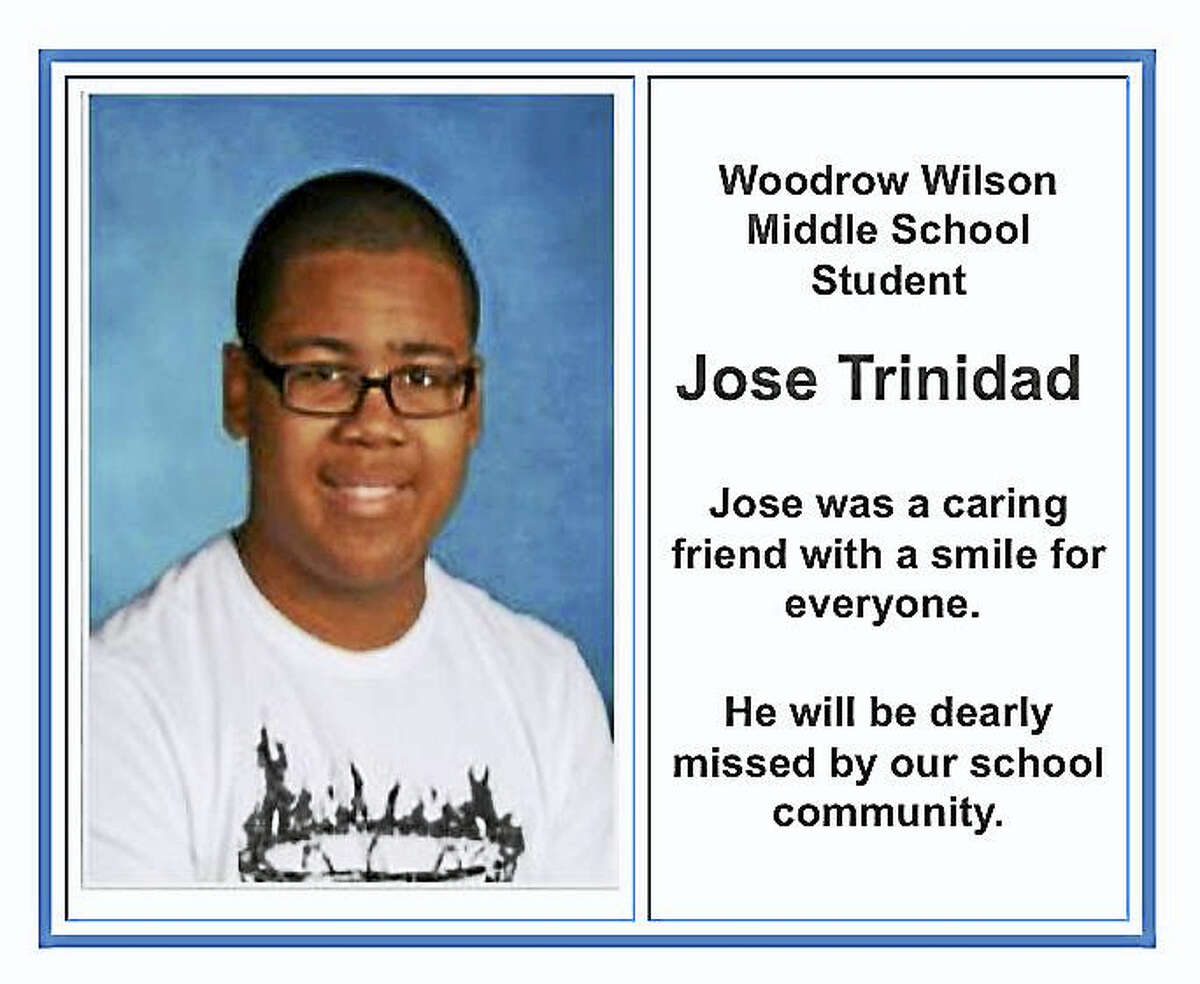 Jose Trinidad, an eighth-grader at Woodrow Wilson Middle School in Middletown, died Thursday during an after-school basketball function.