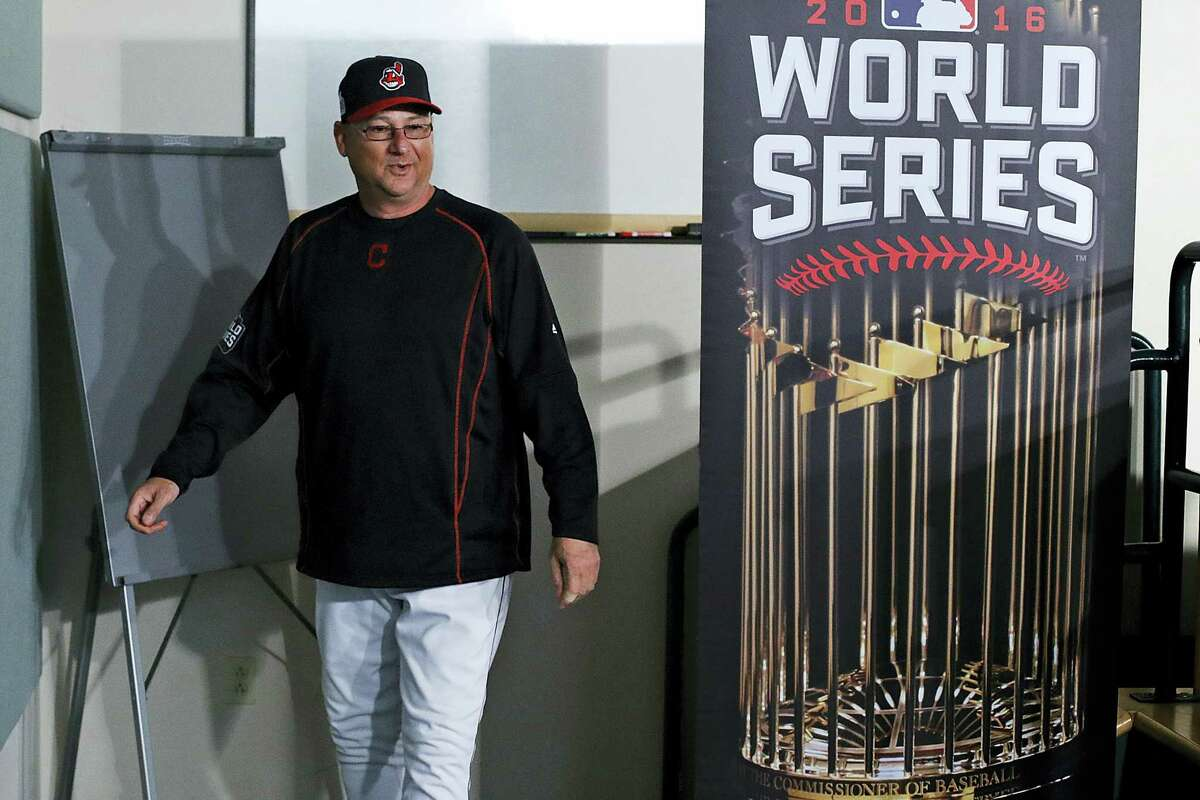 Indians manager Terry Francona leaves a news conference Monday.