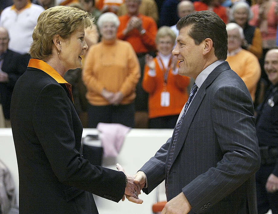 In this 2006 photo, Tennessee coach Pat Summitt, left, shakes hand with UConn coach Geno Auriemma. Photo: The Associated Press File Photo  / AP2006