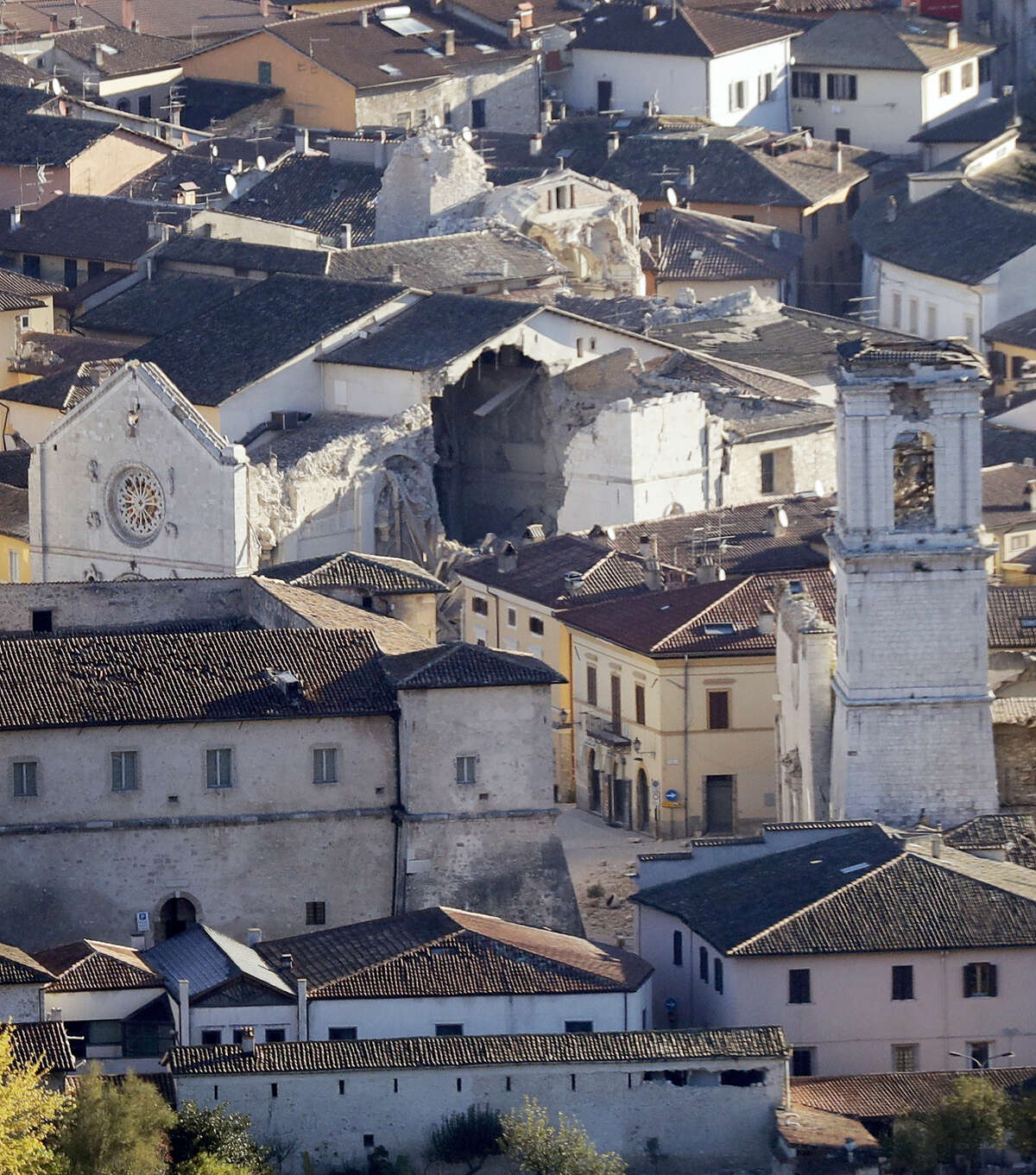 A general view shows a collapsed cathedral after an earthquake in Norcia, central Italy, Italy on Oct. 31, 2016. The third powerful earthquake to hit Italy in two months spared human life Sunday but struck at the nation's identity, destroying a Benedictine cathedral, a medieval tower and other beloved landmarks that had survived the earlier jolts across a mountainous region of small historic towns.