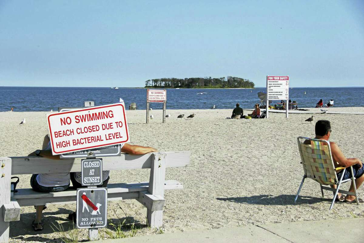 Swimming was prohibited at Silver Sands State Park Wednesday due to high levels of indicator bacteria in the water.