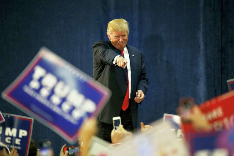 Republican presidential candidate Donald Trump gestures to supporters before speaking at a campaign rally at the University of Northern Colorado, in Greeley, Colo. on Oct. 30, 2016. Photo: AP Photo/ Brennan Linsley  / Copyright 2016 The Associated Press. All rights reserved.