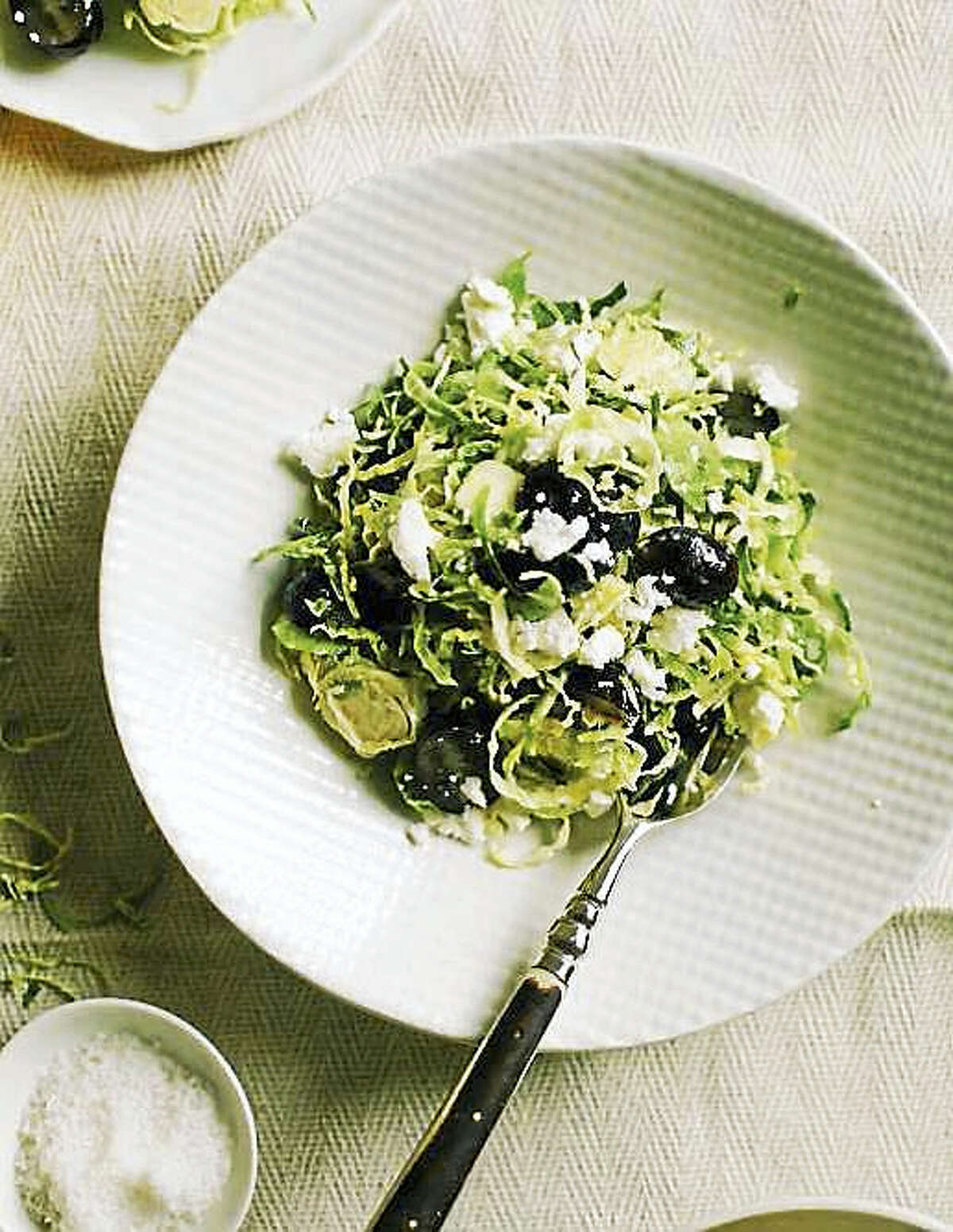 Brussels sprouts slaw with grapes and feta