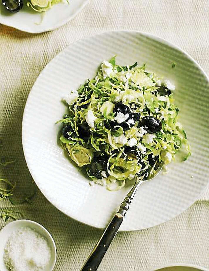 Brussels sprouts slaw with grapes and feta Photo: Photo Courtesy Of Ashley Rodriguez And Boone Rodriguez