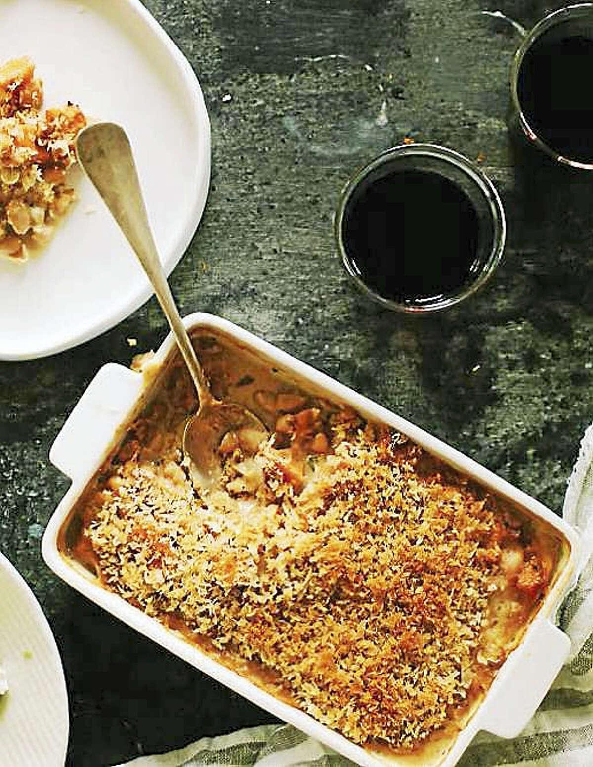 White bean and pumpkin gratin with crispy shallot crumbs