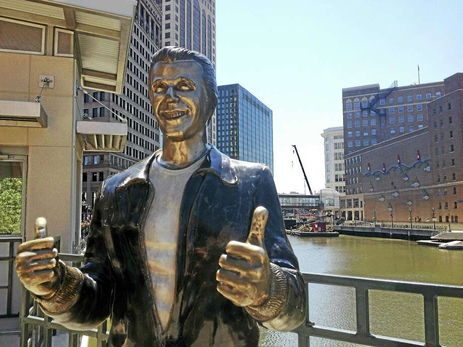 """The Bronze Fonz"" in Milwaukee was among the many American landmarks Register columnist Chip Malafronte encountered during a recent road trip. Photo: The Associated Press File Photo  / AP"
