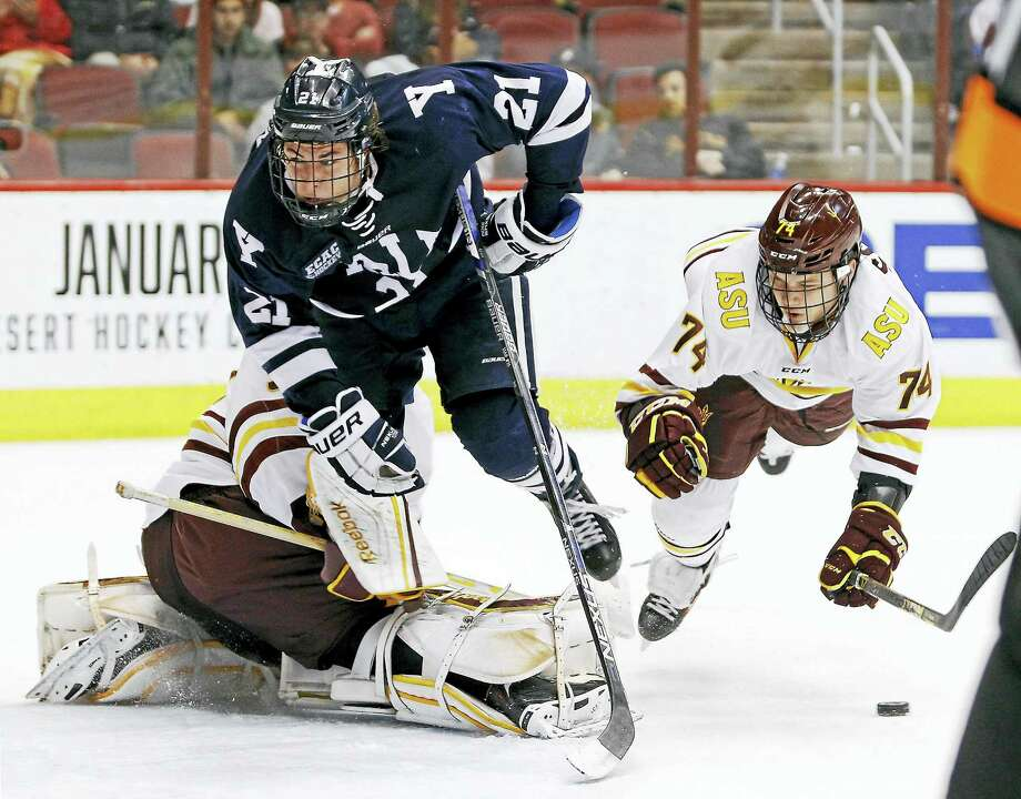 Yale's John Hayden (21) was elected captain for the Yale hockey team. Photo: The Associated Press File Photo  / FR170363 AP