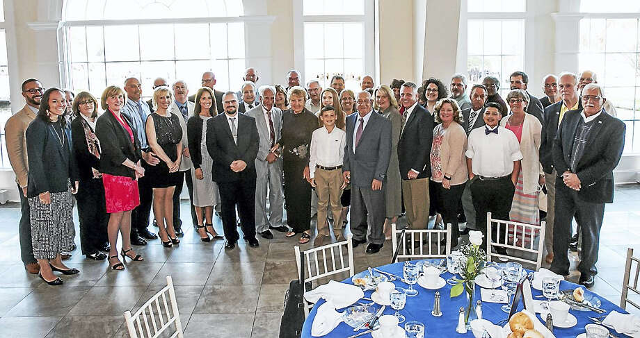 Sandy Aldieri - Special for The Middletown PressGood Sport Award winner John Greco is pictured with a large contingent of Middletown supporters at the Aqua Turf Club in Southington on Sunday. Photo: Journal Register Co.