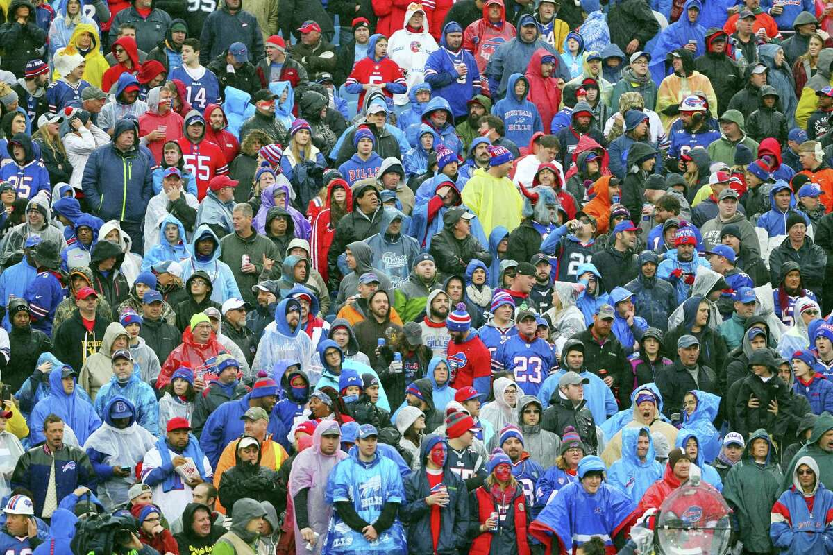 Fans watch during the first half of an NFL football game between the Buffalo Bills and the New England Patriots on Oct. 30, 2016 in Orchard Park, N.Y.