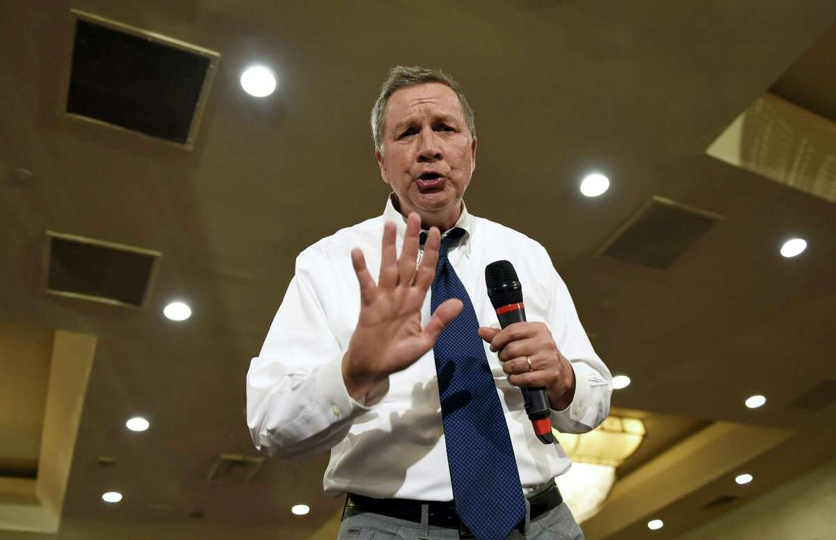 In this April 19, 2016 photo, Republican presidential candidate Ohio Gov. John Kasich speaks in Annapolis, Md.