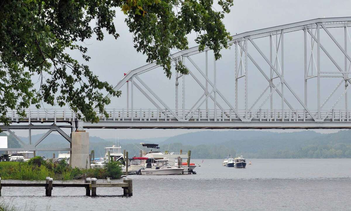 The Swing Bridge spans the Connecticut River between Haddam and East Haddam.