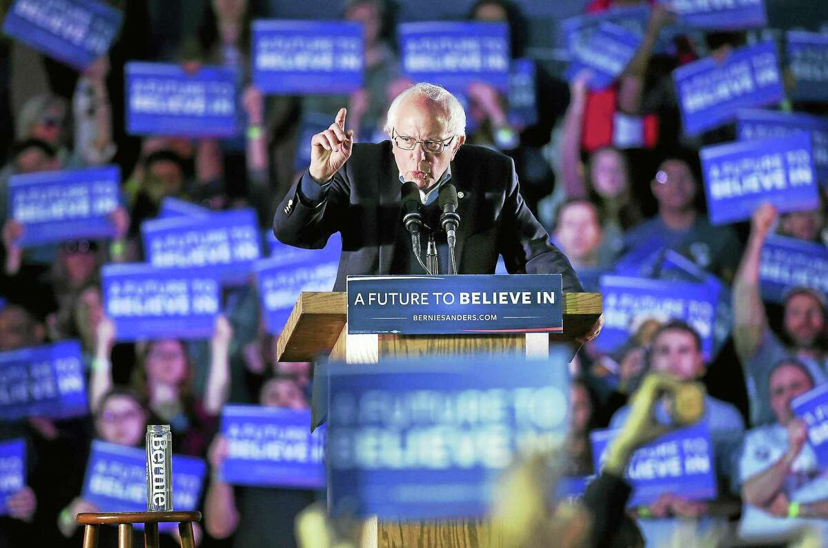 Arnold Gold-New Haven Register Bernie Sanders makes a point at a rally on the New Haven Green Sunday.