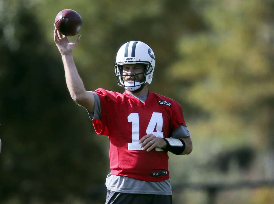 New York Jets quarterback Ryan Fitzpatrick throws during a NFL football practice in Florham Park, N.J. Photo: Seth Wenig — The Associated Press  / Copyright 2016 The Associated Press. All rights reserved.