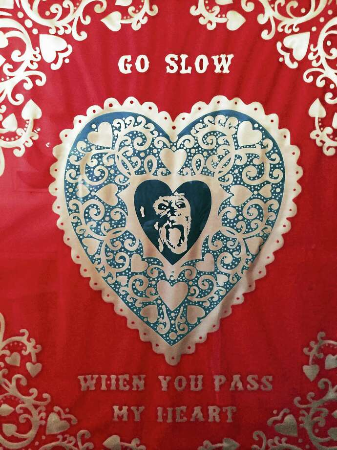 Contributed photoGo Slow When You Pass My Heart Med. Blue Red navy inks on white cotton, by William Kent. Photo: Journal Register Co.