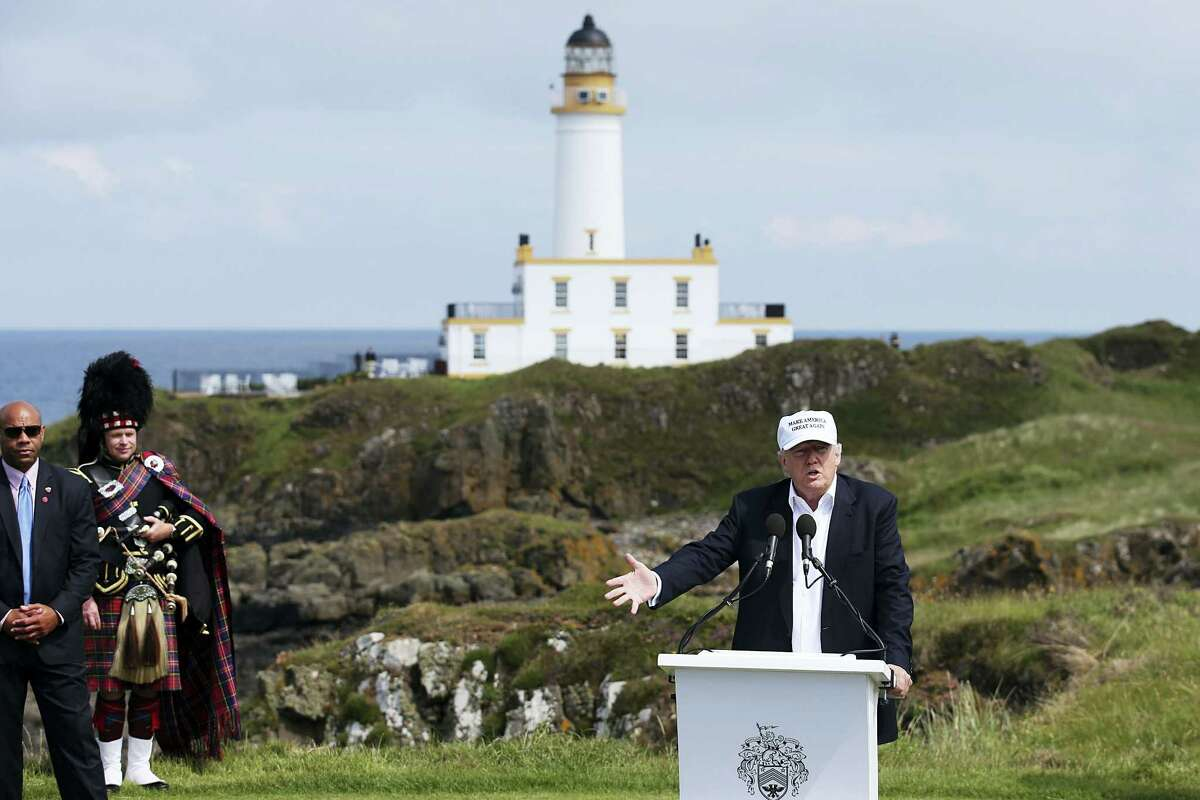 """The presumptive Republican presidential nominee Donald Trump makes a speech at his revamped Trump Turnberry golf course in Turnberry Scotland Friday June 24, 2016. Trump, in Scotland the day after the United Kingdom voted to leave the European Union, saluted the decision, saying the nation's citizens """"took back their country."""""""