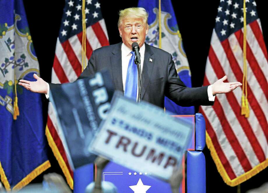 Republican presidential candidate Donald Trump addresses supporters at a campaign event at Crosby High School in Waterbury Saturday, April 23, 2016. Photo: AP Photo — Charles Krupa / Copyright 2016 The Associated Press. All rights reserved. This material may not be published, broadcast, rewritten or redistribu