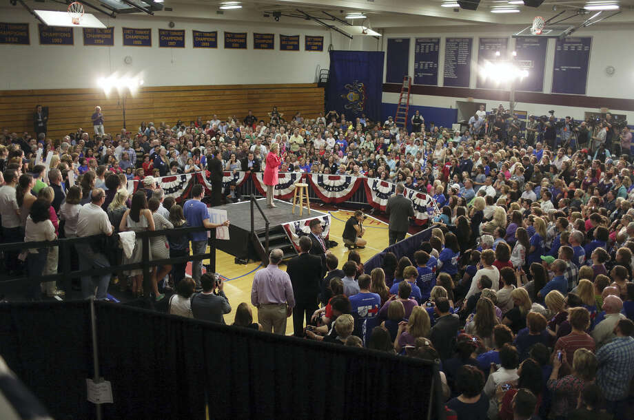 Democratic presidential candidate Hillary Clinton gives a speech at Dunmore High School in Dunmore, Pa., on Friday, April 22, 2016. Photo: Jake Danna Stevens/The Times-Tribune Via AP   / The Times & Tribune