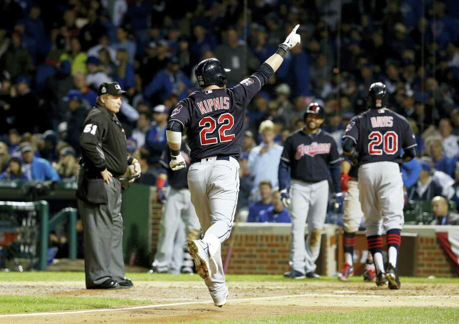 The Indians' Jason Kipnis (22) celebrates after hitting a three-run home run during the seventh inning of Game 4 of the World Series against the Cubs on Saturday in Chicago. Photo: Nam Y. Huh — The Associated Press  / Copyright 2016 The Associated Press. All rights reserved.