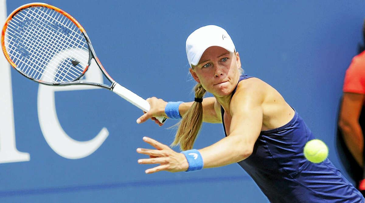 Johanna Larsson gets set to hit a return to Roberta Vinci in their quarterfinal match on Thursday.