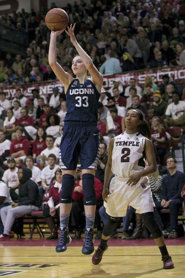 UConn's Katie Lou Samuelson (33), shooting the ball with Temple's Feyonda Fitzgerald (2) looking on during the second half Sunday, knows she can't just sit and watch UConn's seniors if the Huskies are to accomplish their goals. Photo: File Photo – The Associated Press  / FR170982 AP